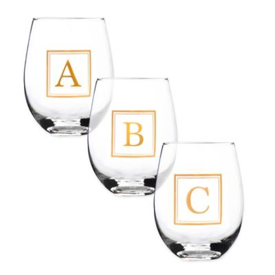 "Home Essentials & Beyond Monogram Letter ""Q"" Stemless Wine Glass"