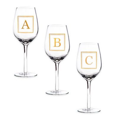 "Home Essentials & Beyond Monogram Block Letter ""A"" Wine Glass"