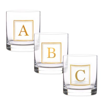 "Home Essentials & Beyond Monogram Block Letter ""T"" Double Old Fashioned Glass"