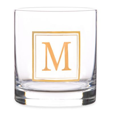 """Home Essentials & Beyond Monogram Block Letter """"M"""" Double Old Fashioned Glass"""