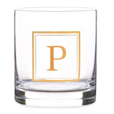 """Home Essentials & Beyond Monogram Block Letter """"P"""" Double Old Fashioned Glass"""