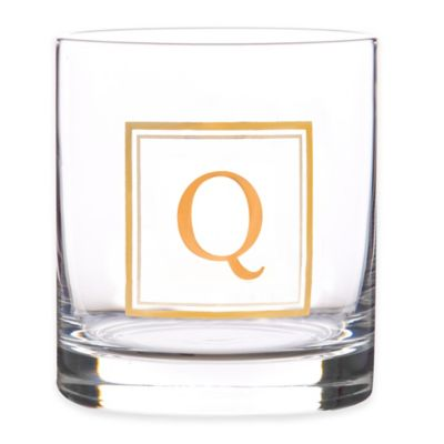 """Home Essentials & Beyond Monogram Block Letter """"Q"""" Double Old Fashioned Glass"""