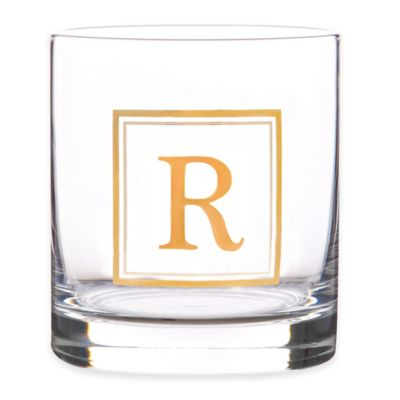 """Home Essentials & Beyond Monogram Block Letter """"R"""" Double Old Fashioned Glass"""