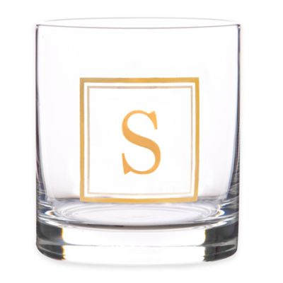 """Home Essentials & Beyond Monogram Block Letter """"S"""" Double Old Fashioned Glass"""