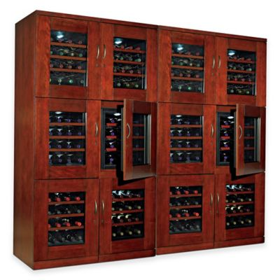 Wine Enthusiast 192-Bottle Trilogy Quad Wine Cellar in Mahogany