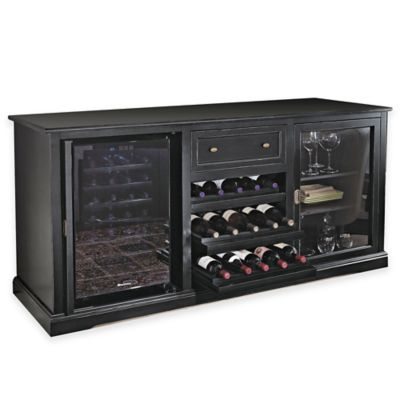 Wine Enthusiast® Siena Nero Credenza and 28-Bottle Wine Cooler