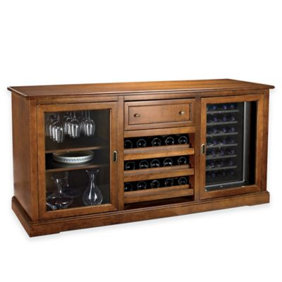 Wine Enthusiast® Siena Walnut Credenza with 2 Touchscreen 28-Bottle Wine Coolers