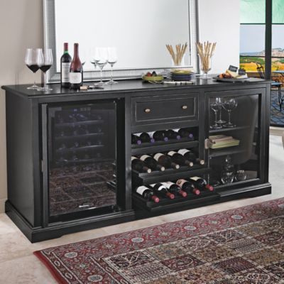 Wine Enthusiast® Siena Nero Credenza and Two 28-Bottle Wine Coolers