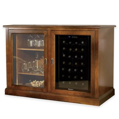 Wine Enthusiast® Siena Mezzo Credenza and 28-Bottle Wine Cooler in Walnut