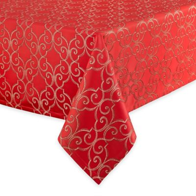 Waterford® Linens Sorelle 70-Inch x 126-Inch Oblong Tablecloth in Red