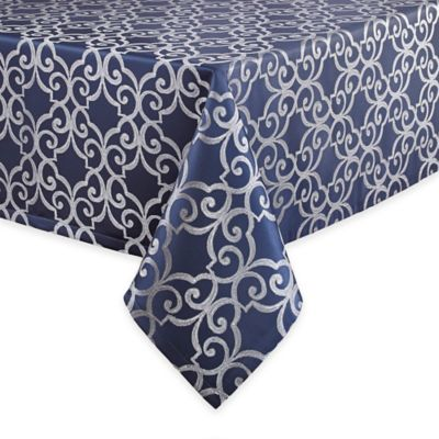 Waterford® Linens Sorelle 70-Inch x 126-Inch Oblong Tablecloth in Blue