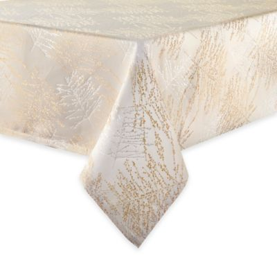 Waterford® Linens Timber 70-Inch Round Tablecloth in Gold/Silver