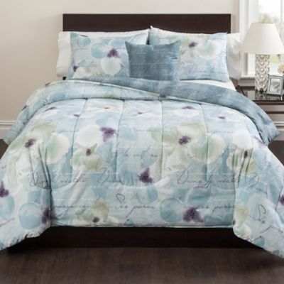 Calais 3-Piece Reversible Twin Comforter Set in Blue