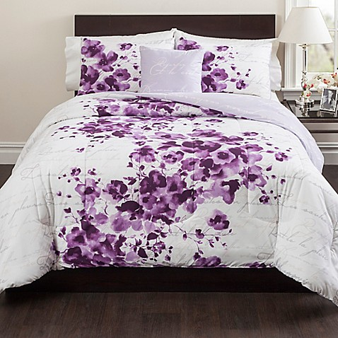 Cheshire Reversible Comforter Set In Purple Bed Bath