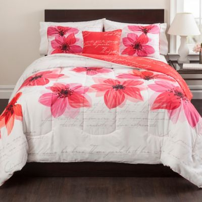 Francine 4-Piece Reversible Full/Queen Comforter Set in Red