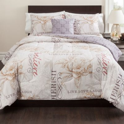 Live in the Moment 3-Piece Reversible Twin Comforter Set in Beige