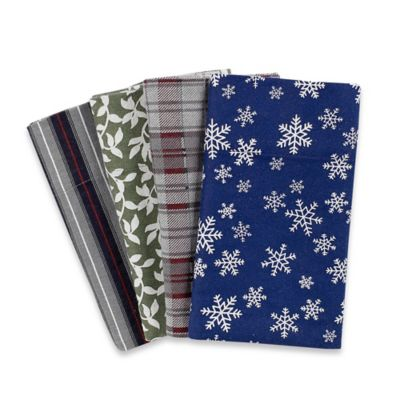 4.5 oz. Patterned Flannel King Sheet Set in Snow