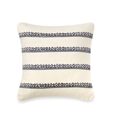Blue Stone Court Ashwin Embroidered Stripe Square Throw Pillow