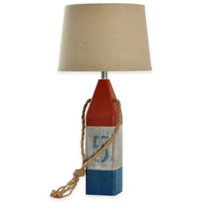 Wooden Buoy Table Lamp in Red/White/Blue with CFL Bulbs