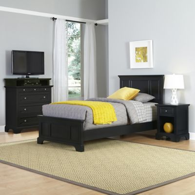 Home Styles Bedford 3-Piece Twin Bed, Nightstand and Media Chest Set in Black