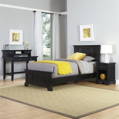 Home Styles Bedford 3-Piece Twin Bed, Nightstand and Student Desk with Hutch Set in Black