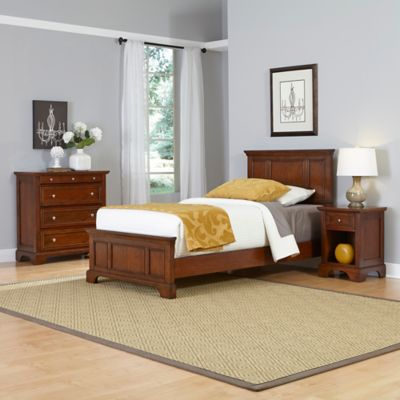 Home Styles Chesapeake 3-Piece Twin Bed, Nightstand and Chest Drawer Set in Cherry