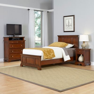 Home Styles Chesapeake 3-Piece Twin Bed, Nightstand and Media Chest Set in Cherry