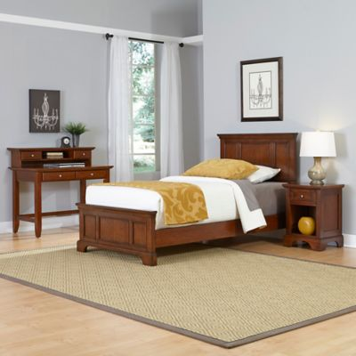 Home Styles Chesapeake 3-Piece Twin Bed, Nightstand and Student Desk with Hutch Set in Cherry