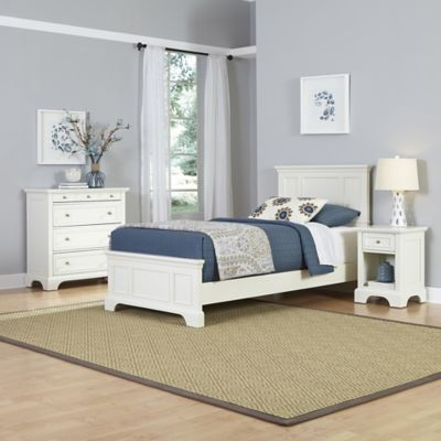 Home Styles Naples 3-Piece Twin Bed, Nightstand and Chest Drawer Set in White