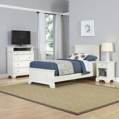 Home Styles Naples 3-Piece Twin Bed, Nightstand and Media Chest Set in White
