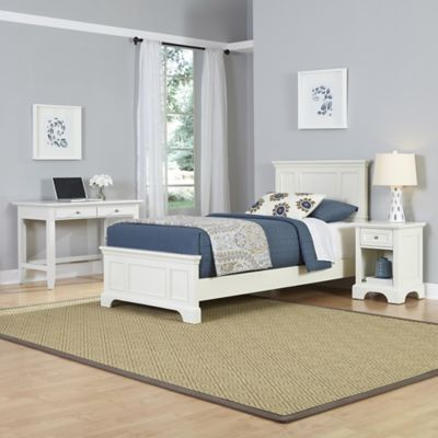 Home Styles Naples 3-Piece Twin Bed, Nightstand and Student Desk Set in White