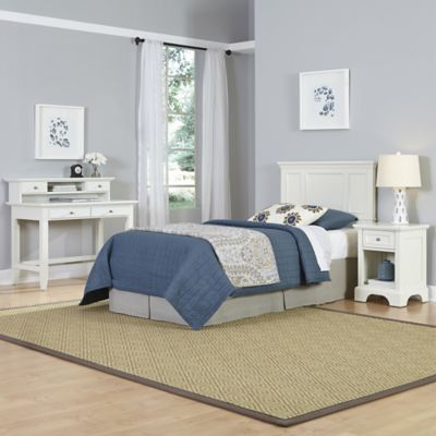 Home Styles Naples 3-Piece Twin Headboard, Nightstand and Student Desk with Hutch Set in White
