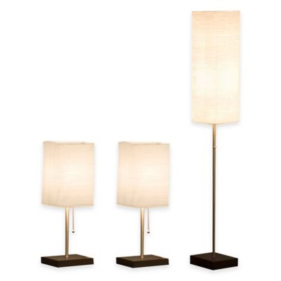 Monterey 3-Piece Crinkle Paper Shade Lamp Set