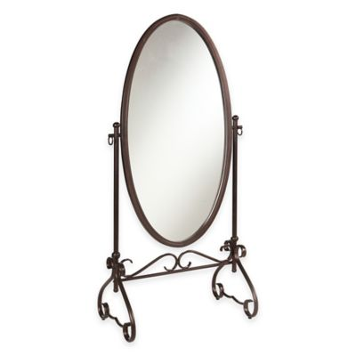 Linon Home Clarisse 26-Inch x 63-Inch Oval Floor Mirror in Antique Brown