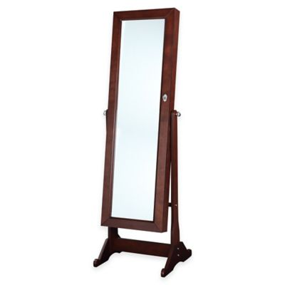Linon Home Ruby 19.7-Inch x 60.25-Inch Cheval Floor Mirror in Cherry