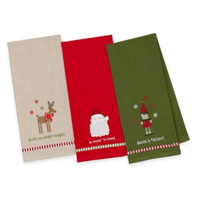 3-Pack Embroidered Santa, Elf and Rudolph Kitchen Towels