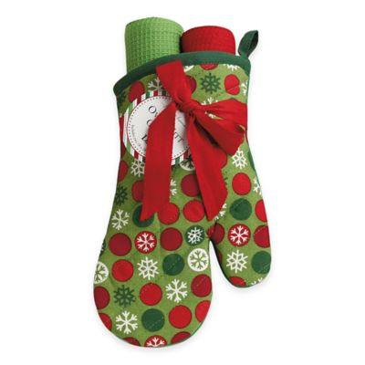 Snowflake Dots 2-Piece Oven Mitt and Kitchen Towel Gift Set