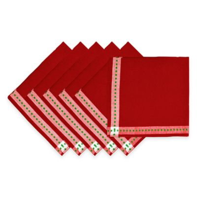 Holiday Dobby Napkins in Red (Set of 6)