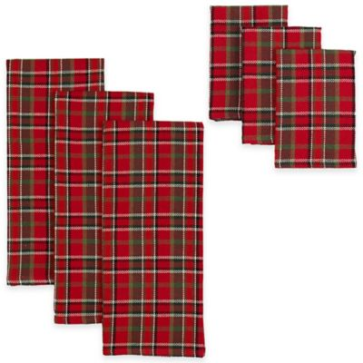 Merry Plaid Heavyweight Kitchen Towels & Dishcloths in Red/Green (Set of 6)
