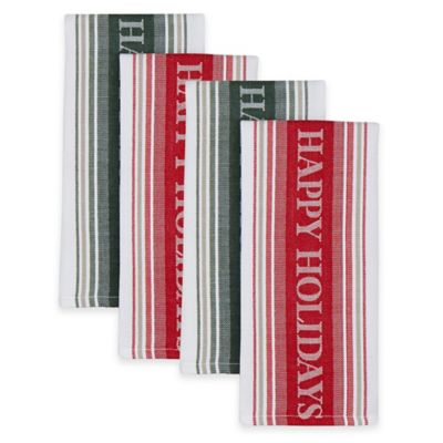Happy Holidays Kitchen Towels in Red/Green (Set of 4)