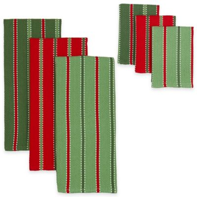 Sprig Stripe Heavyweight Kitchen Towels and Dish Cloths (Set of 6)