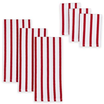 Peppermint Stripe Kitchen Towels & Dish Cloths (Set of 6)