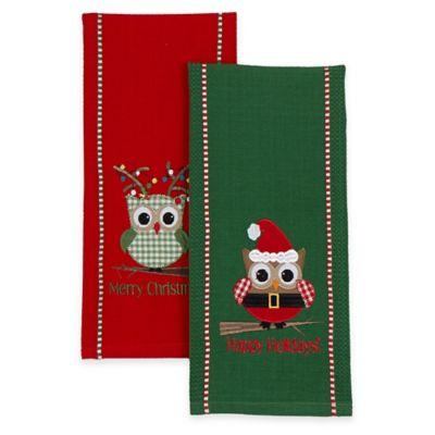 2-Pack Happy Owlidays Dish Towels