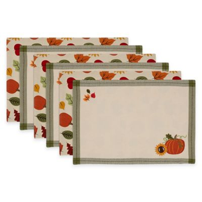 Harvest Pumpkin Embroidered Reversible Placemats (Set of 6)