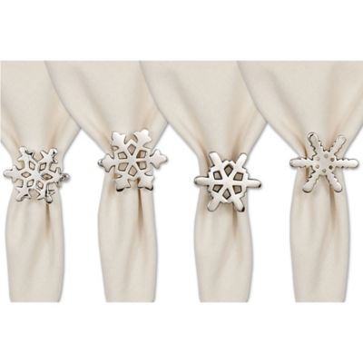Polished Snowflake Napkin Rings (Set of 4)