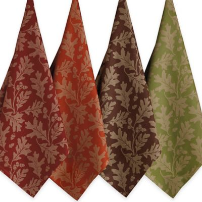 Design Imports Great Oak Leaves Jacquard Assorted Kitchen Towels (Set of 4)