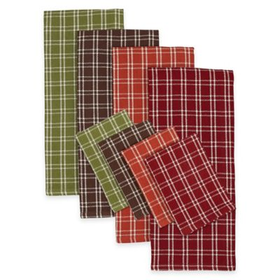 Autumn Check Plaid Heavyweight Dish Towels and Dish Cloths (Set of 8)
