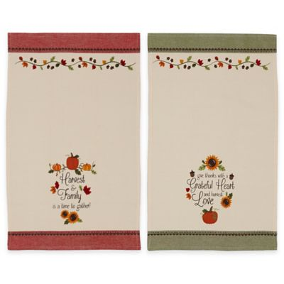 Thankful Harvest Printed Kitchen Towels (Set of 2)