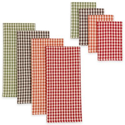Harvest Check Heavyweight Dish Towels and Dish Cloths (Set of 8)