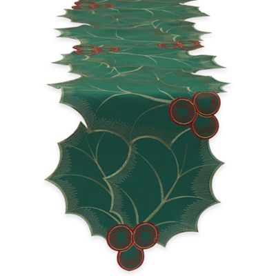 Embroidered Holly Leaves 70-Inch Table Runner in Green